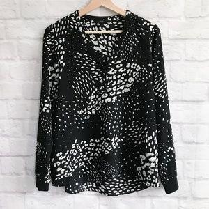 Tibi Ditzy Leopard Henley Silk Top
